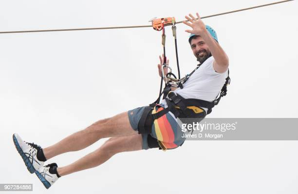 Australian Open Tennis Legend Goran Ivanisevic zip lines on PO Australia's Pacific Eden on January 20 2018 in Melbourne Australia The ship sailed...