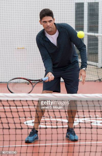 Australian Open Tennis Legend Mark Philippoussis plays tennis on board PO Australia's Pacific Eden cruise ship on January 20 2018 in Melbourne...