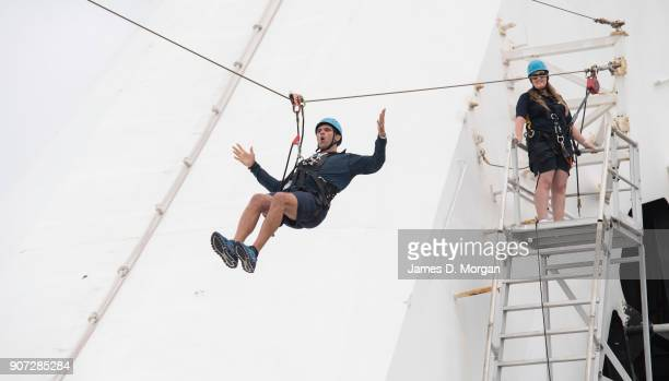Australian Open Tennis Legend Mark Philippoussis zip lines on board PO Australia's Pacific Eden cruise ship on January 20 2018 in Melbourne Australia...