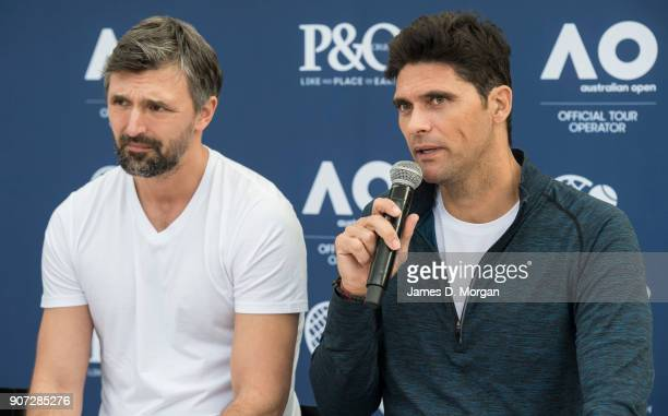 Australian Open Tennis Legends Mark Philippoussis and Goran Ivanisevic on board PO Australia's Pacific Eden cruise ship on January 20 2018 in...