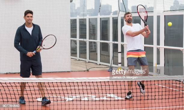 Australian Open Tennis Legends Mark Philippoussis and Goran Ivanisevic play tennis on board PO Australia's Pacific Eden cruise ship on January 20...
