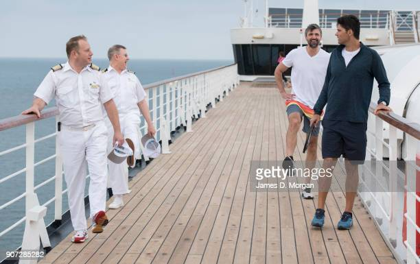 Australian Open Tennis Legends Mark Philippoussis and Goran Ivanisevic with officers from PO Australia's Pacific Eden cruise ship on January 20 2018...