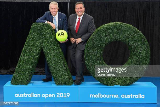 Australian Open Tournament Director and Tennis Australia CEO Craig Tiley and the Hon Victorian Minister for Sport Tourism and Major Events John Eren...