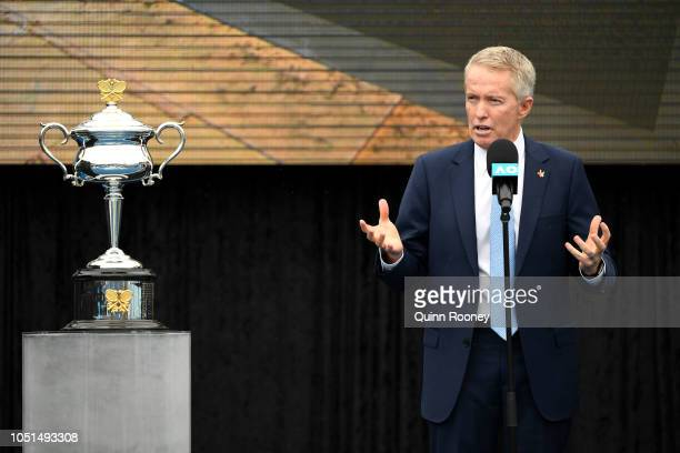 Australian Open Tournament Director and Tennis Australia CEO Craig Tiley talks to the media during the 2019 Australian Open Official Launch at...