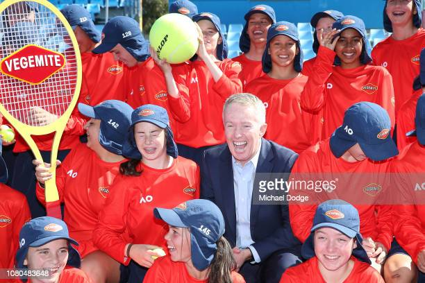Australian Open tournament director Craig Tiley reacts during the 2019 Australian Open Ballkids launch at Melbourne Park on December 11 2018 in...