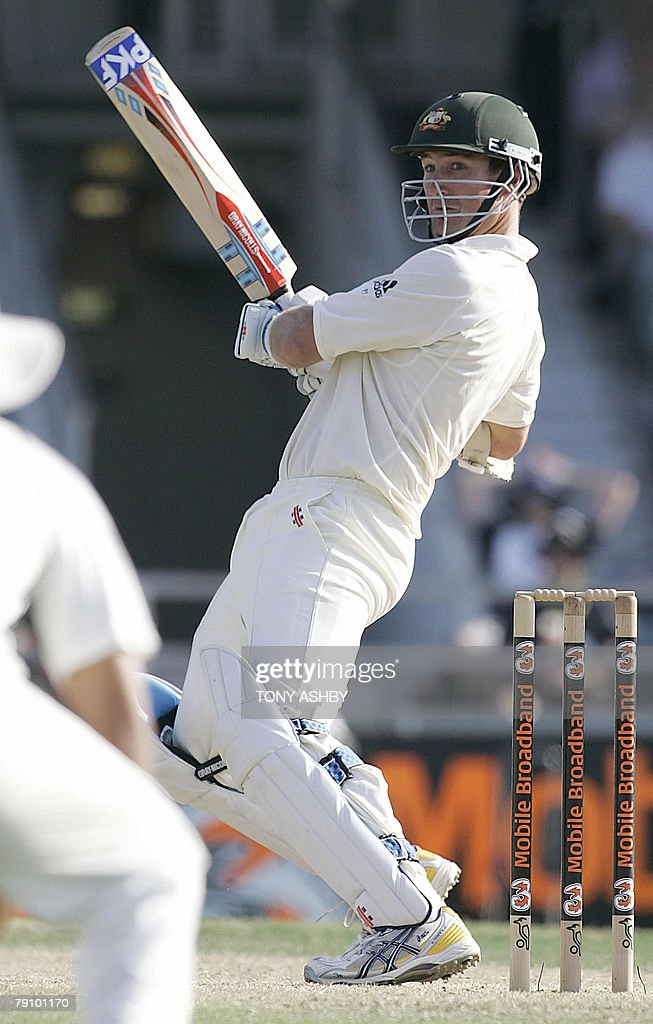 Australian opening batsman Phil Jacques snicks the ball to the boundary during the third day of the third Test against India at the WACA ground in Perth, 18 January 2008. India finished their second innings with 294 runs. RESTRICTED TO EDITORIAL USE PUSH TO MOBILE SERVICES OUT. AFP PHOTO/Tony ASHBY