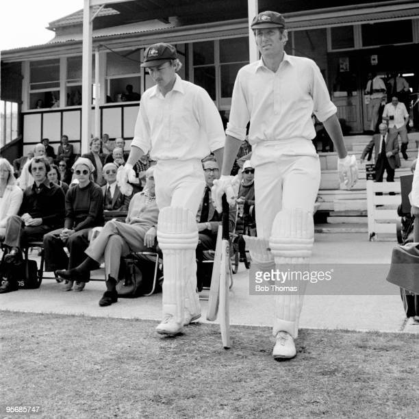 Australian opening batsmen Ian Davis and Rick McCosker walking out to bat on the last of day of the touring match between Northamptonshire and...