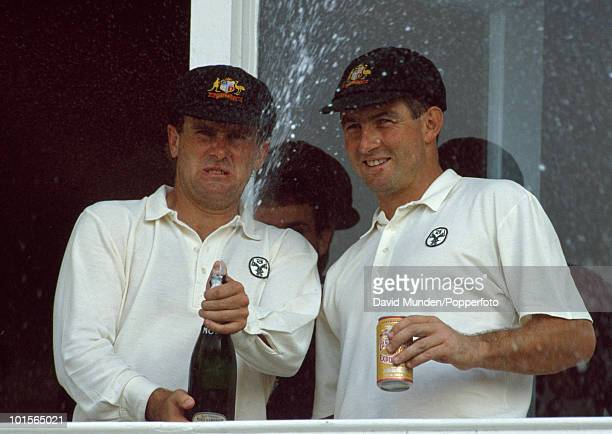 Australian opening batsmen Mark Taylor and Geoff Marsh celebrate at the end of the first day of the 5th Test match between England and Australia at...