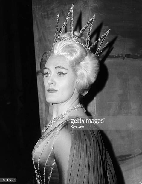 Australian opera singer Dame Joan Sutherland in costume for her role as the Queen of the Night during a production of Mozart's 'The Magic Flute'