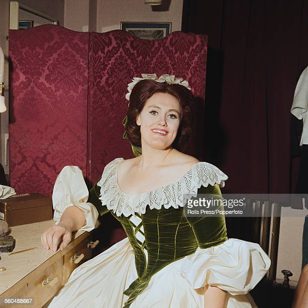 Australian opera singer Joan Sutherland pictured in costume in a dressing room backstage circa 1966