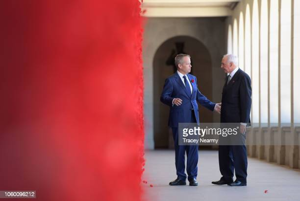 Australian Opposition Leader Bill Shorten and former Prime Minister Paul Keating walk along the Roll of Honour during the Remembrance Day Service at...