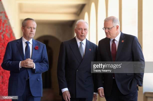 Australian Opposition Leader Bill Shorten former Prime Minister Paul Keating and Prime Minister Scott Morrison walk along the Roll of Honour during...