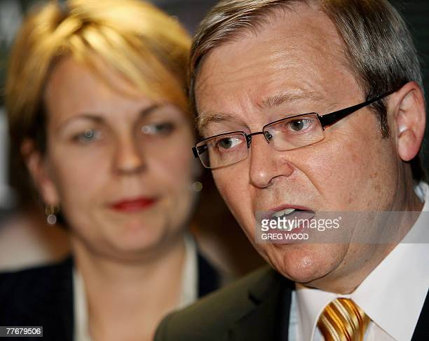 Australian Opposition Leader Kevin Rudd watched by Shadow Minister for Housing Tanya Plibersek speaks at a press conference during a visit to the...