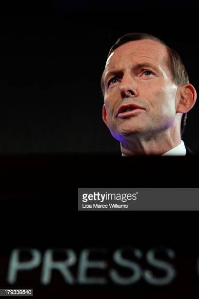 Australian Opposition Leader, Tony Abbott addresses the media at the National Press Club on September 2, 2013 in Canberra, Australia. According to...