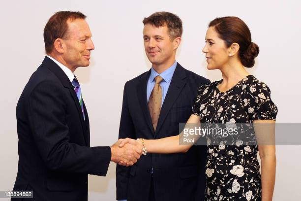 Australian Opposition Leader Tony Abbott greets Prince Frederik of Denmark and Princess Mary of Denmark at Parliament House on November 22 2011 in...