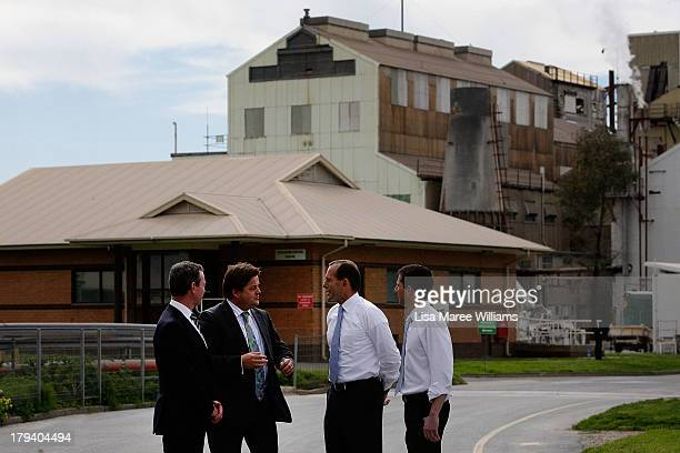 Australian Opposition Leader Tony Abbott Manager of Opposition Business in the House Chris Pyne Guy Roberts and Simon Birmingham MP tour the Penrice...
