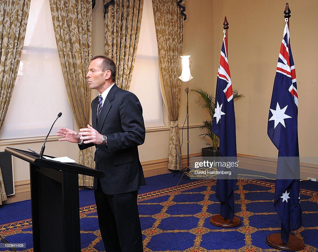 Australian opposition leader Tony Abbott speaks at a press conference at the Conrad Treasury Hotel on July 17, 2010 in Brisbane, Australia. Abbott responded to Prime Minister Julia Gillard's earlier announcement of a federal election set for August 21.