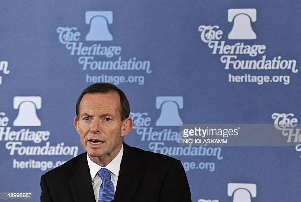 Australian opposition leader Tony Abbott speaks at the Heritage Foundation in Washington on July 17 2012 Abbott leader pledged to avoid 'indulgent'...