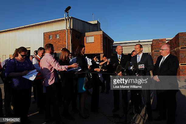 Australian Opposition Leader Tony Abbott speaks during a press conference at a Austral Brick factory on September 3 2013 in Launceston Australia...