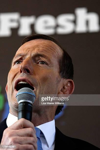 Australian Opposition Leader Tony Abbott speaks to voters at Sydney Market on September 4 2013 in Sydney Australia With just three days of...