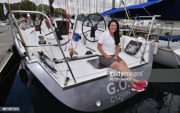 Australian owner Zoe Taylor sits on the stern of her Cookson 12 racng yacht GO at the official launch of the Sydney to Hobart Yacht Race 2017 at the...