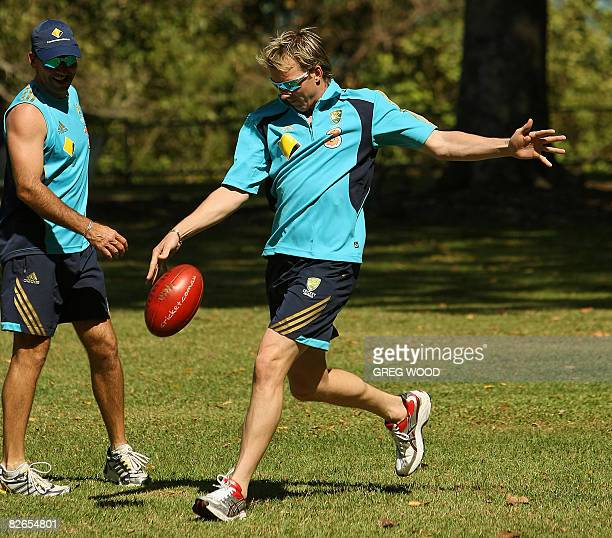 Australian pace bowler Brett Lee joins teammates for a kick with a football on the Esplanade in Darwin on September 4 2008 Lee has declared himself...