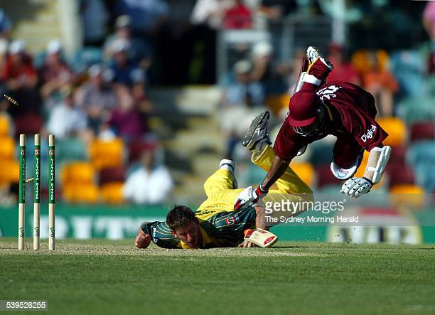 Australian Pace Bowler Michael Kasprowicz about to run out West Indies batsman Marlon Samuels during the One Day International Cricket match at the...