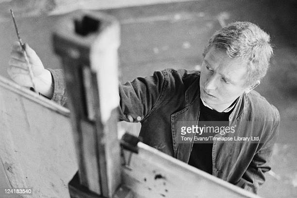 Australian painter and sculptor Brett Whiteley at work in a studio circa 1965