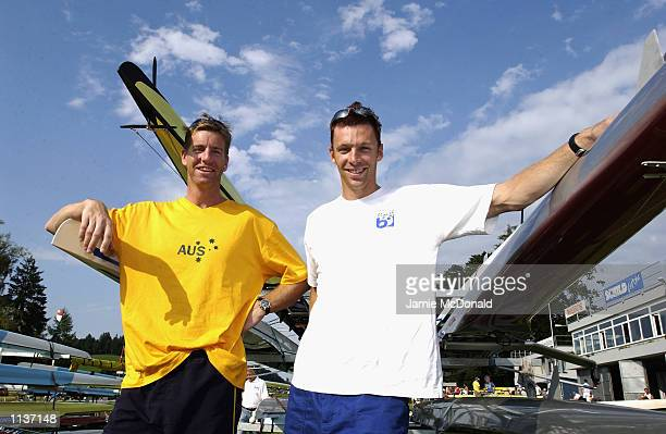 Australian Pair Drew Ginn and James Tomkins during the FISA Rowing World Cup in Lucerne Switzerland on 12 July 2002