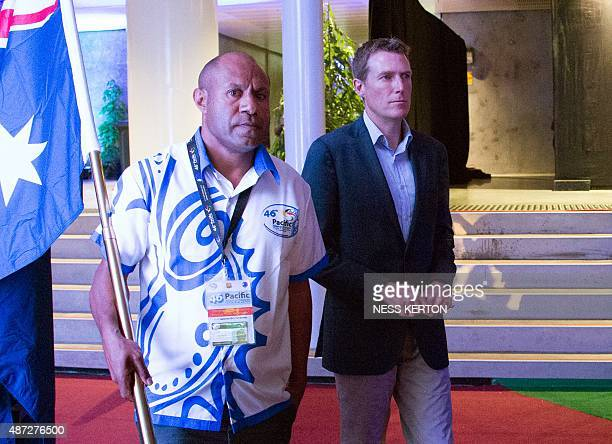 Australian parliamentary secretary Christian Potter arrives for the official opening of the 46th Pacific Islands Forum in Port Moresby on September 8...