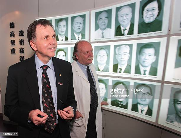 Australian physician Barry J Marshall visits the muniment room of Nanjing Drum Tower Hospital on June 12 2008 in Nanjing of Jiangsu Province China...