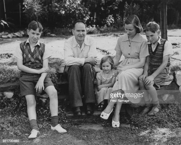 Australian physicist Eric Burhop secretary to the Atomic Scientists' Committee of the Association of Scientific Workers with his family at their home...