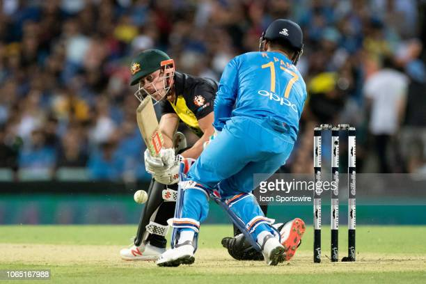 Australian player Chris Lynn plays a shot at the International Gillette T20 cricket match between Australia and India on November 25 at The Sydney...