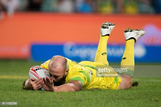 Australian player James Stannard scores a try at the final of The World Rugby Sevens Series at Allianz Stadium in Sydney on January 28 2018