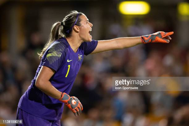 Australian player Lydia Williams calls to her team mates at The Cup of Nations womens soccer match between Australia and New Zealand on February 28...