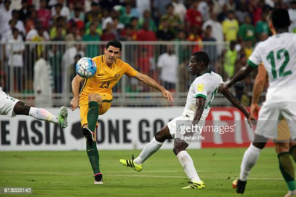 Australian player Tomas Rogic competes with Saudi Abdulamlek Al Khaibri during the match between Saudi Arabia and Australia for the FIFA World Cup...
