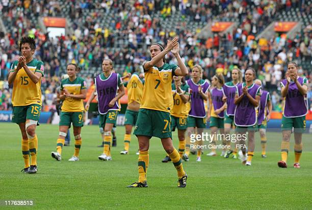 Australian players acknowledge the crowd after Brazil defeated Australia at the FIFA Women's World Cup 2011 Group D match between Brazil and...