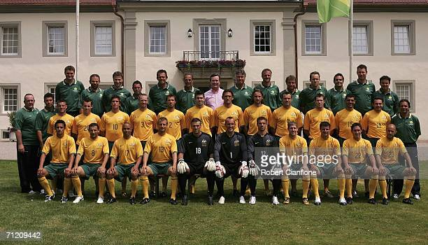 Australian players and officials pose for a team picture after the training session at the Wald and Schloss hotel June 15, 2006 in Oehringen, Germany.