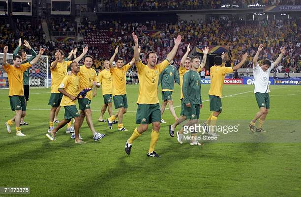 Australian players applaud the fans following their team's 22 draw during the FIFA World Cup Germany 2006 Group F match between Croatia and Australia...