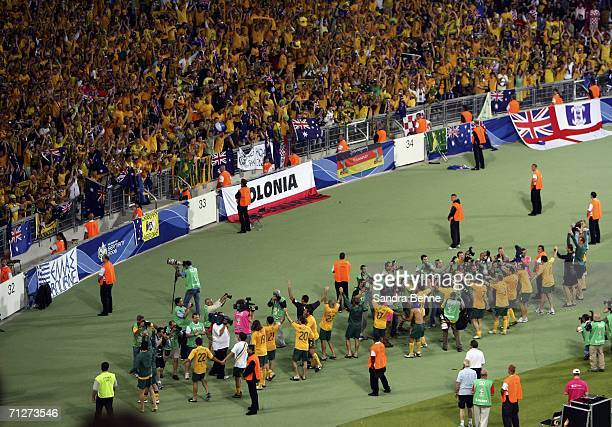Australian players applaud the fans, following their team's 2-2 draw during the FIFA World Cup Germany 2006 Group F match between Croatia and...