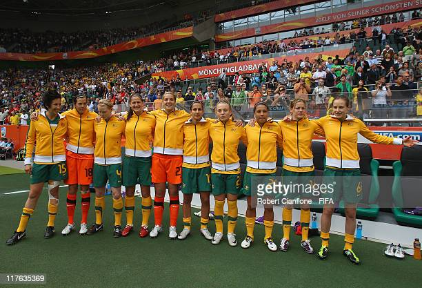 Australian players are seen prior to the FIFA Women's World Cup 2011 Group D match between Brazil and Australia at the Borussia Park Stadium on June...