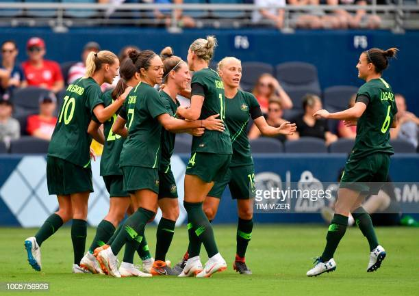 Australian players celebrate after scoring against Brazil at during the Tournament of Nations football match at Children's Mercy Park in Kansas City...
