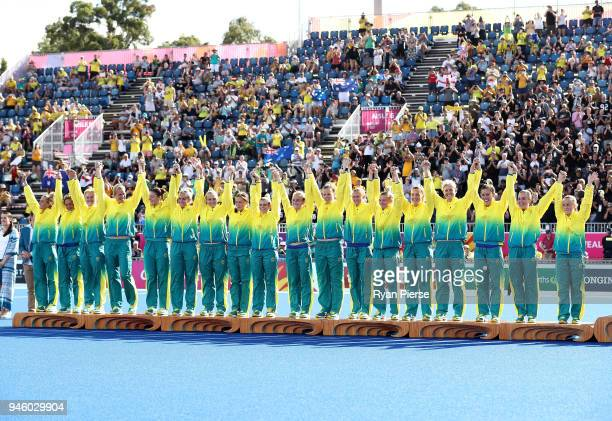 Australian players celebrate after the Women's Gold Medal match between Australia and New Zealand during Hockey on day 10 of the Gold Coast 2018...