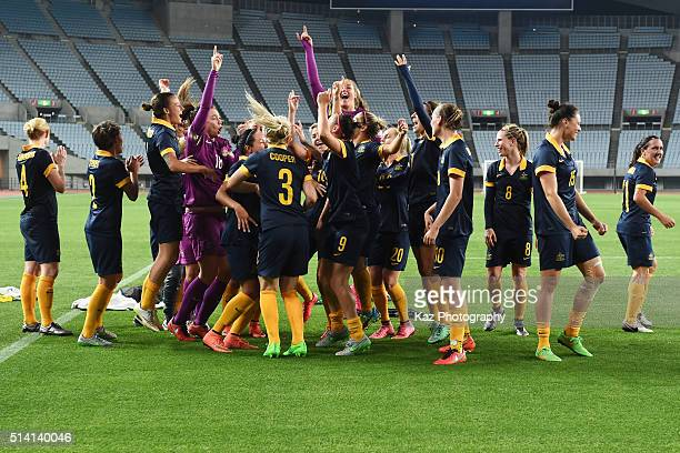 Australian players celebrate after their qualification for the Rio de Janeiro Olympics after their 2-1 win in the AFC Women's Olympic Final...