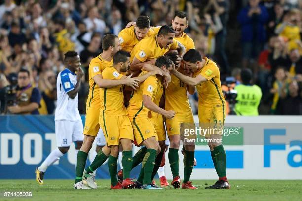 Australian players celebrate scoring a goal during the 2018 FIFA World Cup Qualifiers Leg 2 match between the Australian Socceroos and Honduras at...
