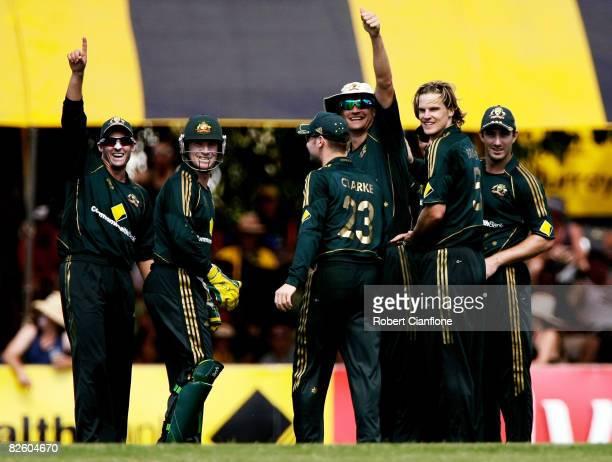 Australian players celebrate the dismissal of Alok Kopali of Bangladesh during the first one day international match between Australia and Bangladesh...