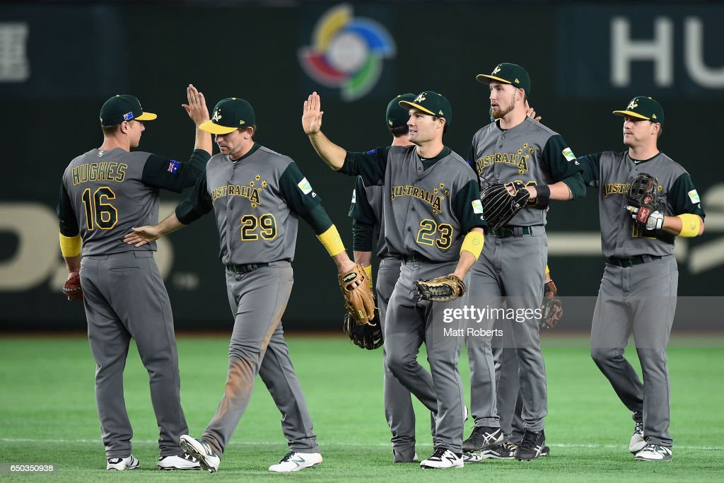 Australian players celebrate their 11-0 win after the World Baseball Classic Pool B Game Four between Australia and China at the Tokyo Dome on March 9, 2017 in Tokyo, Japan.