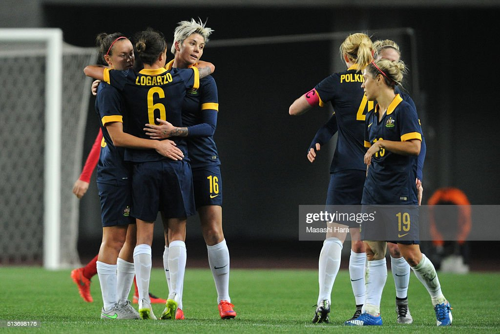 Australian players celebrate their 2-0 win in the AFC Women's Olympic Final Qualification Round match between South Korea and Australia at Yanmar Stadium Nagai on March 4, 2016 in Osaka, Japan.