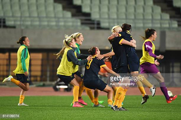 Australian players celebrate their qualification for the Rio de Janeiro Olympic after their 2-1 win in the AFC Women's Olympic Final Qualification...