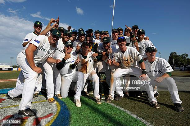 Australian players celebrate victory during the World baseball Classic Final match between Australia and South Africa at Blacktown International...